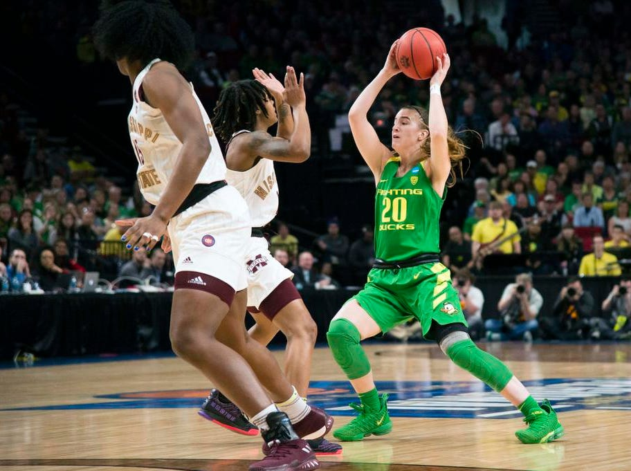 Mar 31, 2019; Portland, OR, USA; Oregon Ducks guard Sabrina Ionescu (20) looks to pass the ball against during the first half against Mississippi State Bulldogs in the championship game of the Portland regional in the women's 2019 NCAA Tournament at Moda Center. Mandatory Credit: Troy Wayrynen-USA TODAY Sports