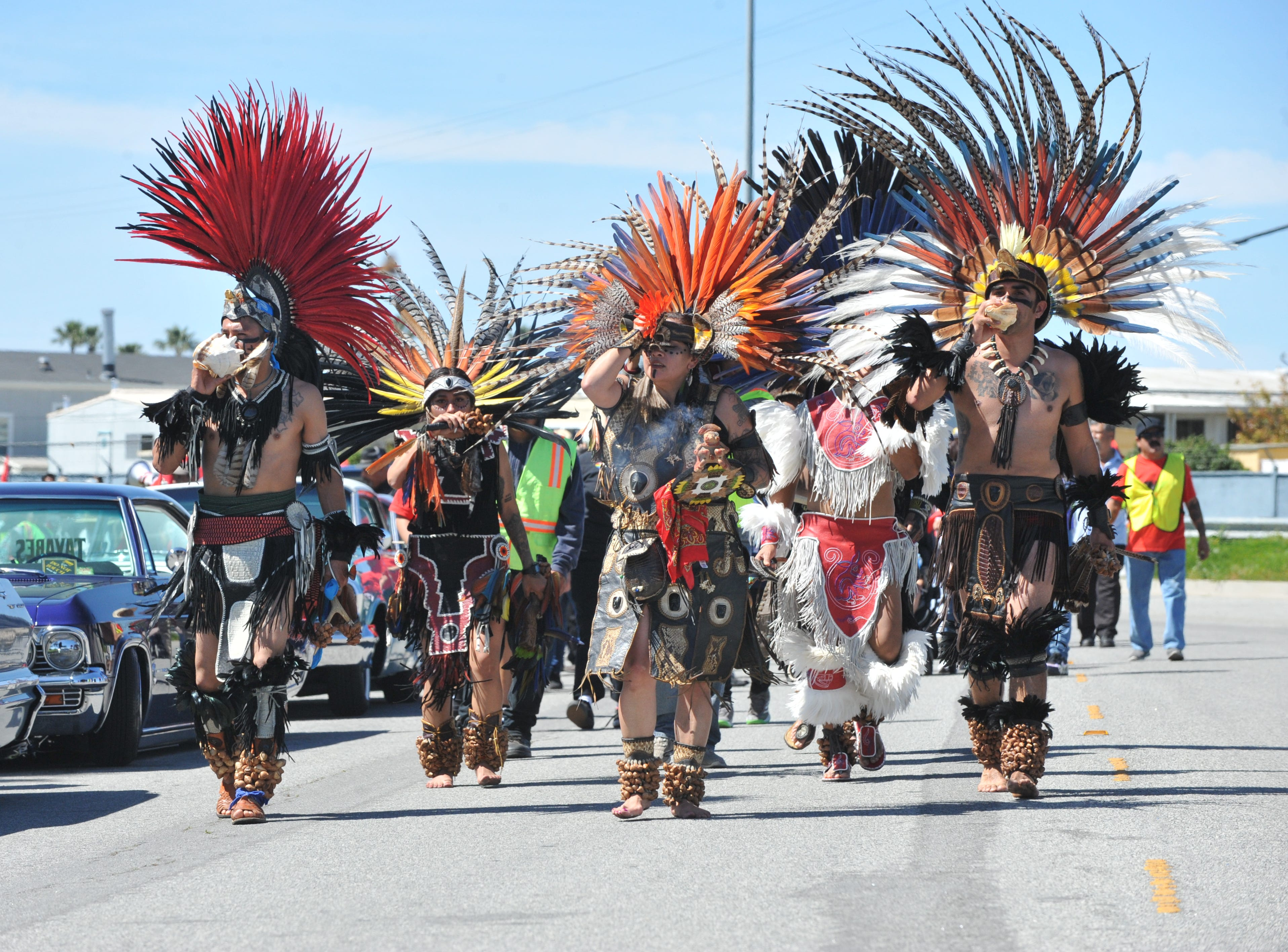 Aztec dancers led the United Farm Workers' march in Salinas on March 31, 2019, Cesar Chavez's birthday.