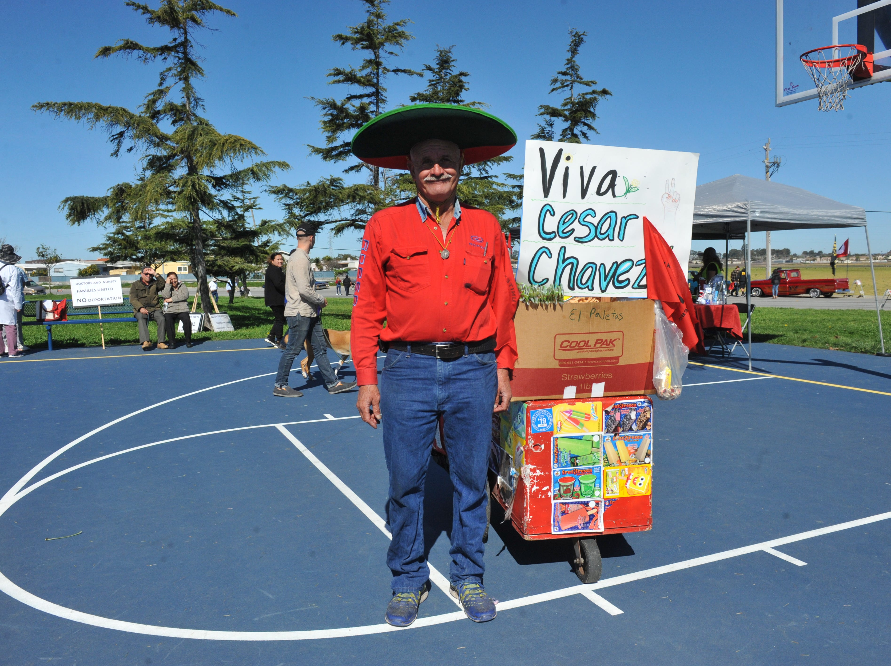 """Alfredo Colin Guzman, an ice cream vendor in Salinas, attended the March 31, 2019 Cesar Chavez march in support of the United Farm Workers and the """"Blue Card"""" bill that would give agricultural workers a pathway to citizenship."""