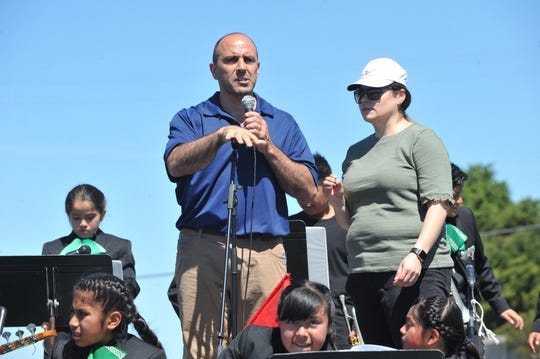 "Rep. Jimmy Panetta, local congressman and cosponsor of the ""Blue Card"" bill,  addresses Sunday's marchers at Cesar Chavez Community Park in Salinas on March 31, 2019."