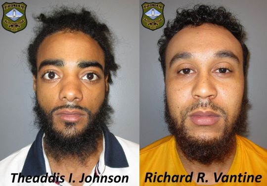 Theaddis I. Johnson, 22, of Milford and Richard R. Vantine, 22, of Georgetown were arrested Saturday, March 30, 2019, after Rehoboth Beach Police Officers found a loaded 9mm handgun during a traffic stop. Courtesy of Rehoboth Beach Police Department.