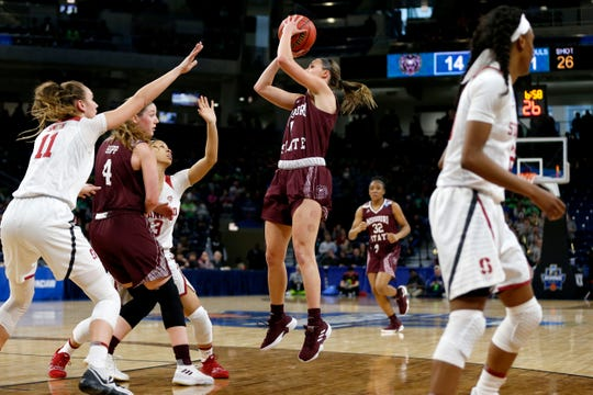Missouri State Lady Bear Danielle Gitzen shoots a field goal over the Stanford Cardinal during the NCAA Division I Women's Regional at Wintrust Arena in Chicago, Ill. on Saturday, March 30, 2019.