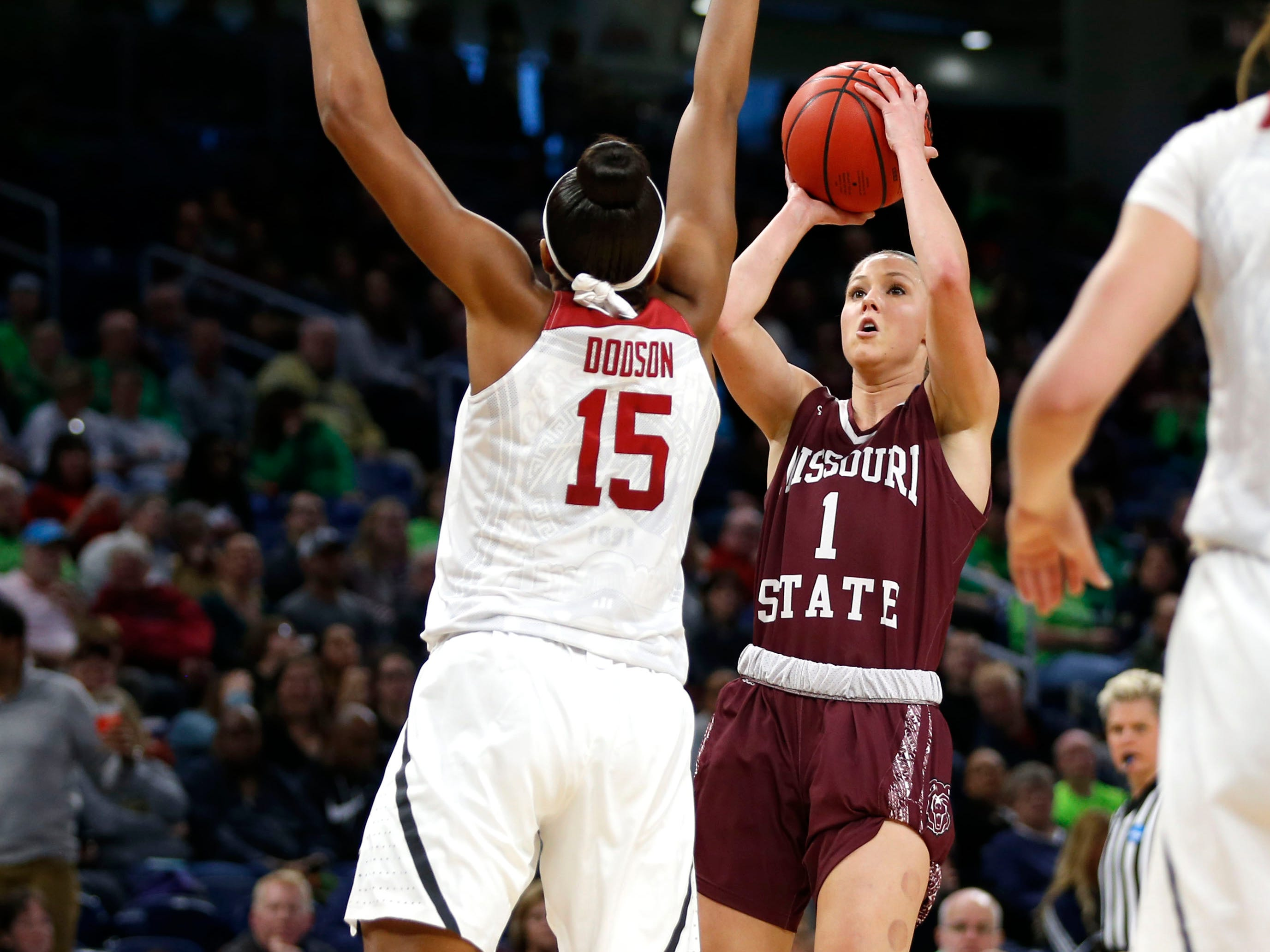 Missouri State Lady Bear Danielle Gitzen shoots over Stanford's Maya Dodson during the NCAA Division I Women's Regional at Wintrust Arena in Chicago, Ill. on Saturday, March 30, 2019.