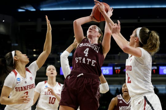 Missouri State's Abby Hipp (4) shoots against Stanford's Lexie Hull (12) during the first half of a regional semifinal game in the NCAA women's college basketball tournament, Saturday, March 30, 2019, in Chicago.