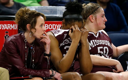 Missouri State Lady Bear Jasmine Franklin buries her head in her jersey as the Stanford Cardinal pull away at the end of the NCAA Division I Women's Regional at Wintrust Arena in Chicago, Ill. on Saturday, March 30, 2019.