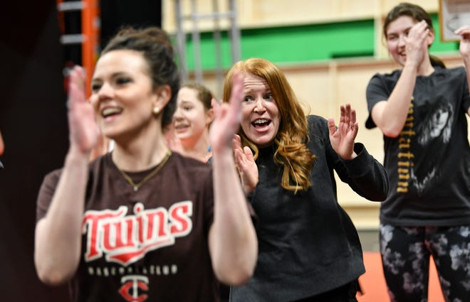 """Cynthia Hogenson performs during a rehearsal of GREAT Theatre's """"Joseph and the Amazing Technicolor Dreamcoat"""" Thursday, March 28, in Waite Park."""