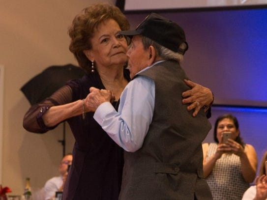 Daniel S. Fernandez dances with his wife of nearly 72 years, Margaret Fernandez, during his 100th birthday party Saturday, March 30, 2019, at Fort Bliss.
