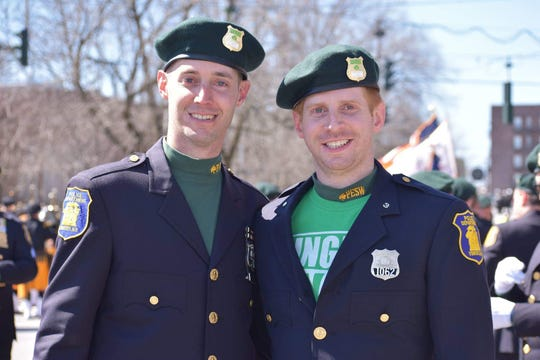Yonkers Police Officer Thomas Goff, left, was photographed with his brother, Yonkers Police Officer Trevor Goff, during Yonkers St. Patrick's Day Parade on McLean Avenue on March 23.