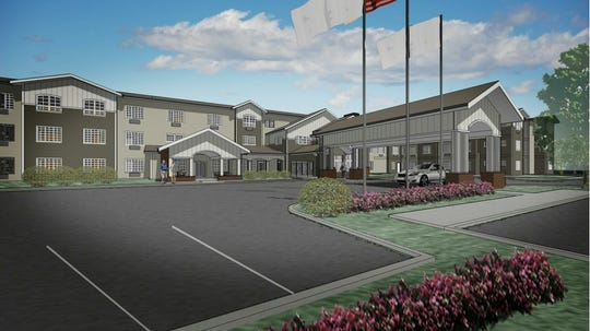 An artist's rendering of a senior living facility planned for Barksdale Road in Newark.