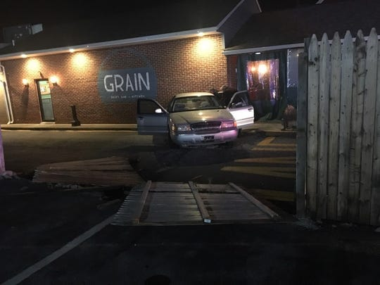 After mistaking the gas pedal for the brake, a 75-year-old man crashed into Grain on Main in Newark Saturday night.