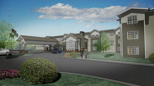 An artist's rendering of a new senior living facility planned for Barksdale Road in Newark.