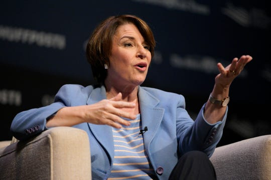 Democratic presidential candidate Sen. Amy Klobuchar, D-Minn., speaks at the Heartland Forum held on the campus of Buena Vista University in Storm Lake, Iowa, Saturday, March 30, 2019.