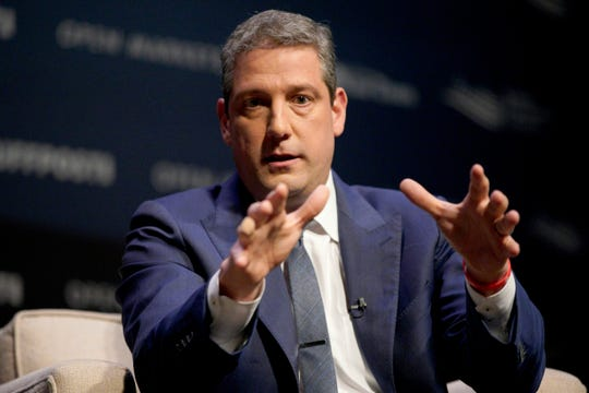 Rep. Tim Ryan, D-Ohio, speaks at the Heartland Forum on the campus of Buena Vista University in Storm Lake, Iowa, Saturday, March 30, 2019.