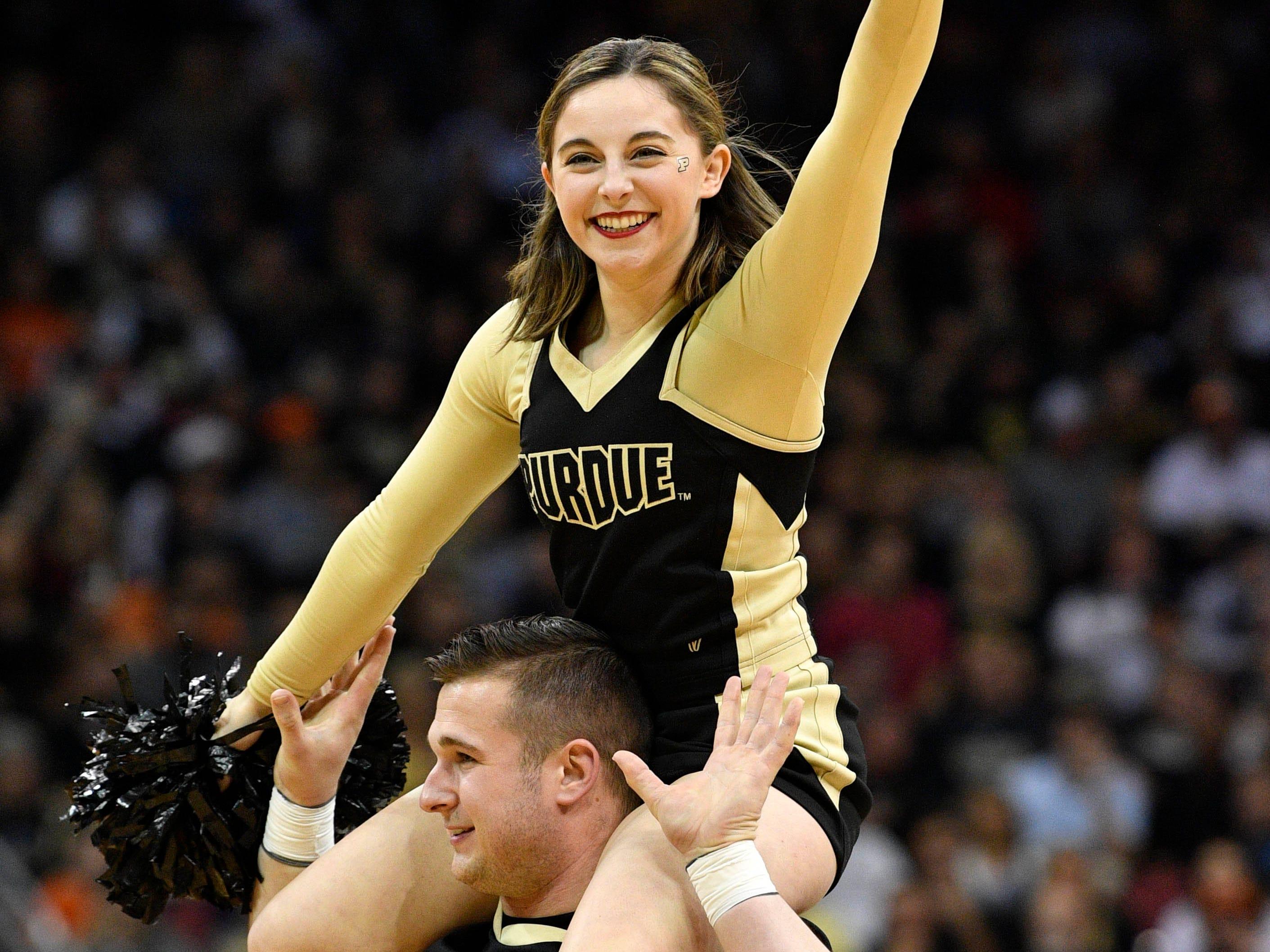 Elite Eight: Purdue Boilermakers cheerleaders perform during the second half against the Virginia Cavaliers.