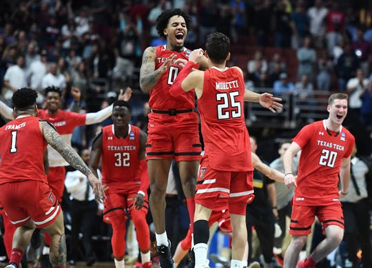 Texas Tech celebrates after defeating Gonzaga to earn a trip to the Final Four.