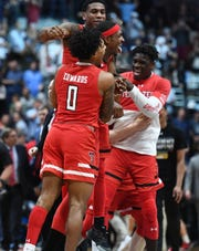 Texas Tech Red Raiders celebrate their Elite Eight win