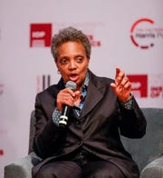 Chicago mayoral candidate Lori Lightfoot speaks during a forum on crime and violence at University of Chicago Institute of Politics, Harris School of Public Policy and Crime Lab in Chicago on March 13, 2019.