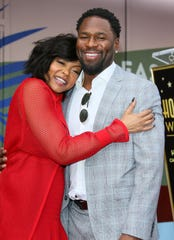 Taraji P. Henson, left, and Kelvin Hayden at the unveiling of her star on the Hollywood Walk of Fame in January.