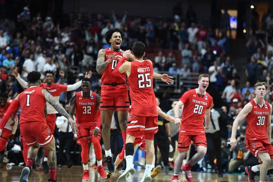 Elite Eight: The Texas Tech Red Raiders celebrate after beating the No. 1 Gonzaga Bulldogs.