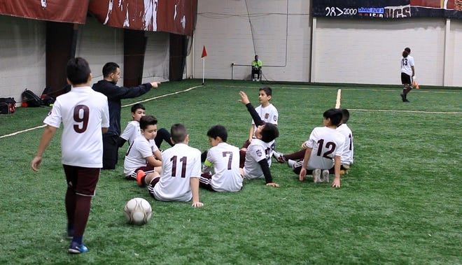 The DCFC youth soccer teams plays at the Detroit City Fieldhouse in Detroit, Mich., on Jan. 19, 2019. Detroit City FC set up a partnership with Detroit PAL, a nonprofit, to offer quality soccer training at a modest price.
