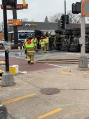 A milk truck overturned Saturday in Menasha.