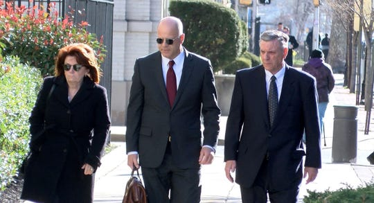 Ocean County Republican Chairman George Gilmore (right) arrives at the Federal Courthouse in Trenton Monday, April 1, 2019, along with his wife Joanne and attorney Kevin Marino.  Gilmore is facing tax evasion charges.