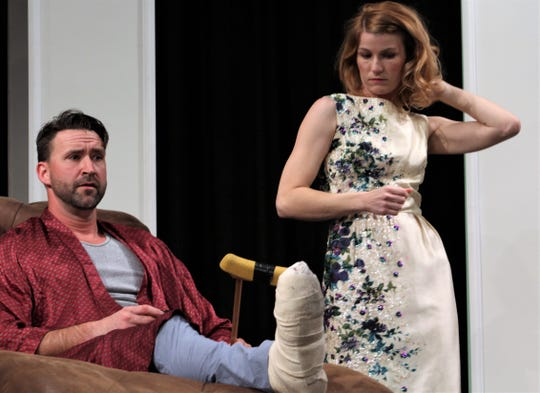 """Brick (Nicolas Gooch) and Maggie (Andrea Robison) express their feelings in this rehearsal scene from """"Cat on a Hot Tin Roof,"""" Abilene Community Theatre's 2018-19 production that ACT's Mike Stephens calls one of the season's best shows."""