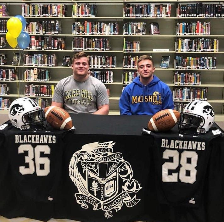 North Buncombe football standouts sign with local college