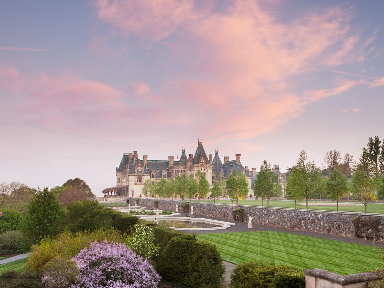 The Italian Garden at Biltmore Estate, along with flowering trees in the Shrub Garden.