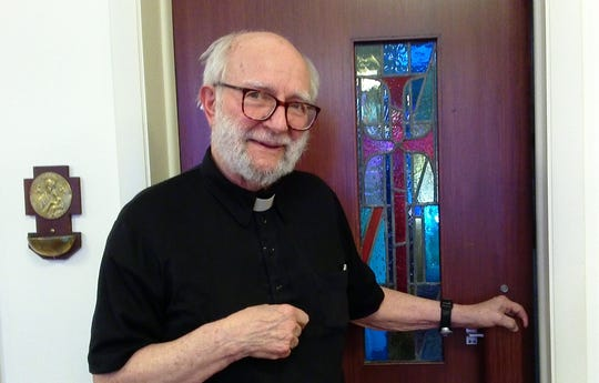 The Rev. Stanley Gerlock, retired priest of Syracuse Roman Catholic Diocese and retired chaplain at Broome County Jail. He is inside the chapel of the retired priests' residence in Binghamton.