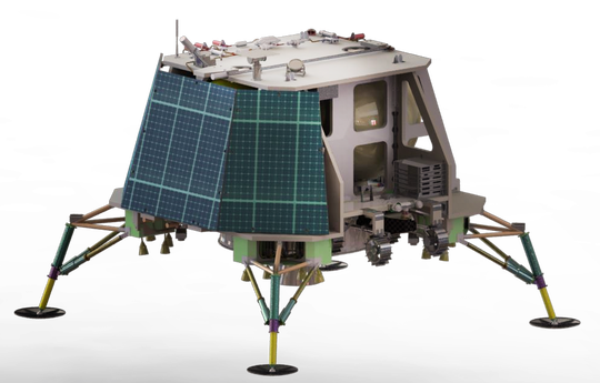 An artist rendering of OrbitBeyond's first lunar lander, which could be ready to launch small payloads to the moon in 2020. The company plans to base lander assembly and testing work in Florida.
