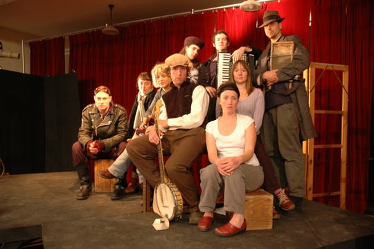 "Anais Mitchell (third from left) and the cast of ""Hadestown"" from the 2007 Vermont touring production."
