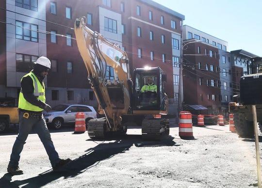 Road and utilities work resumes on St. Paul Street in Burlington on April 1, 2019.