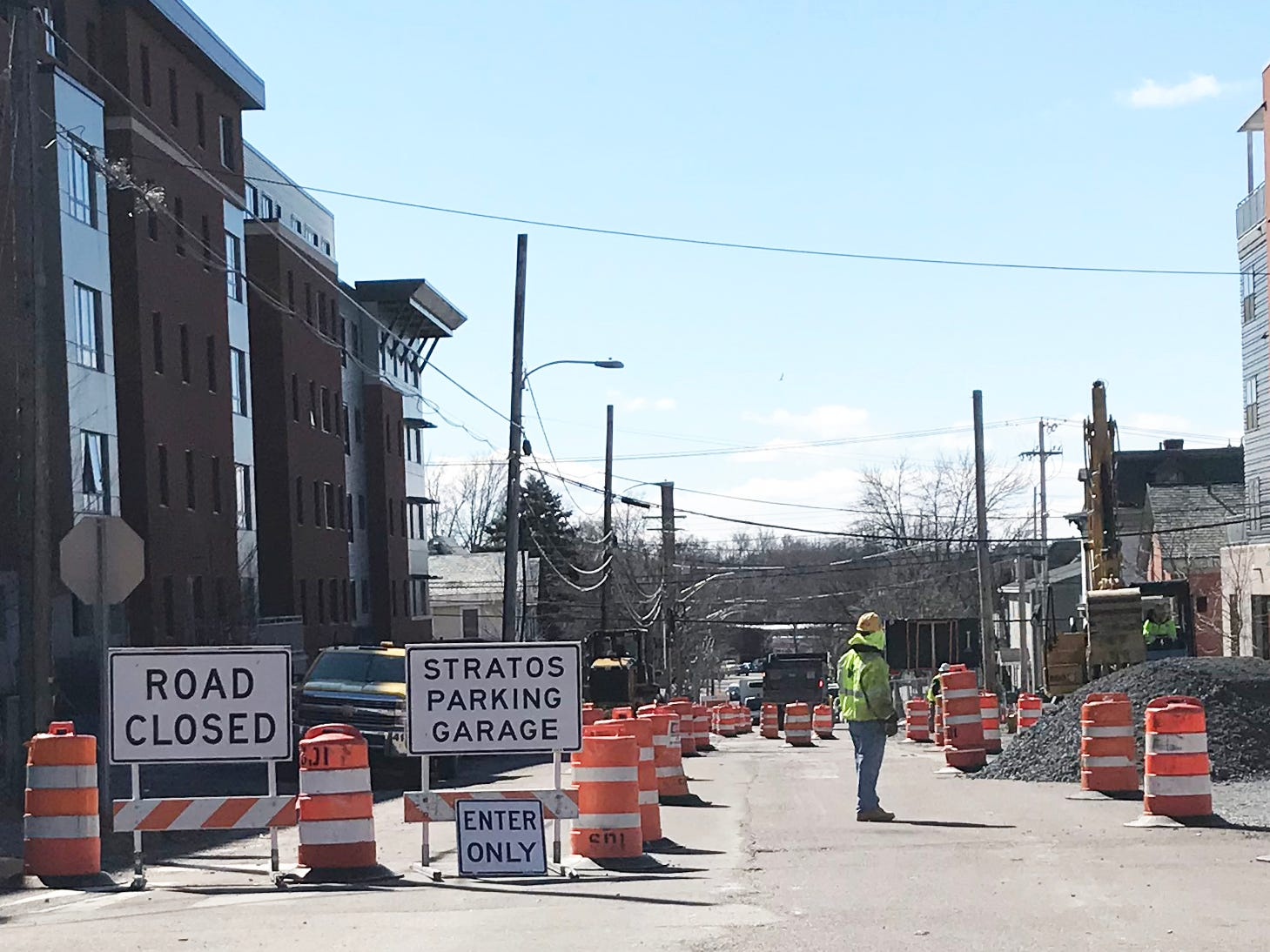 Road and utilities work resumes on St. Paul Street in Burlington on April 1, 2019.