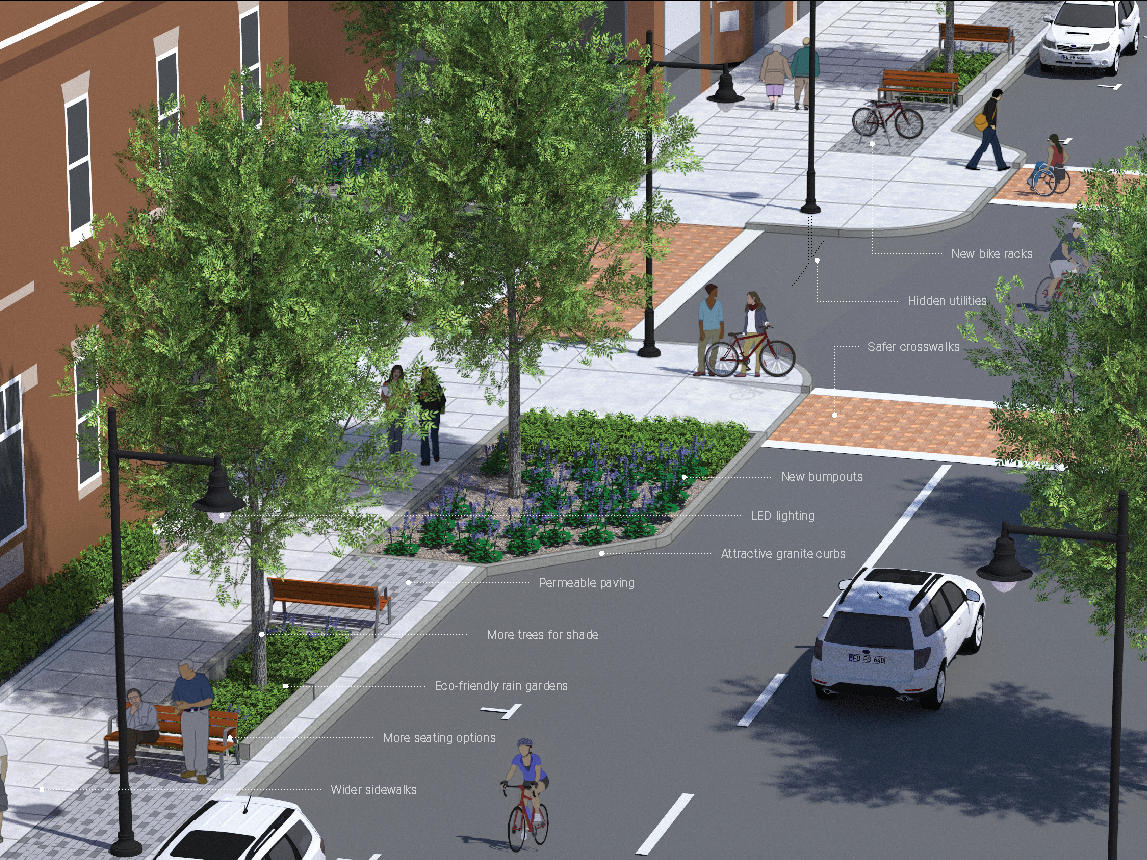 "So-called ""Great Streets"" improvements proposed for St. Paul Street in Burlington are shown in this rendering created for the city in 2018."