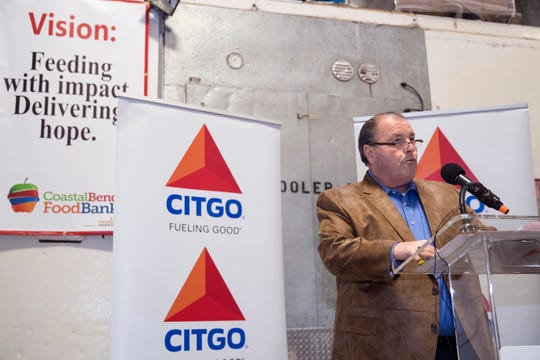 Larry Elizondo, general manager for government and public affairs for Citgo, speaks at the ribbon cutting for the donation of a new refrigerated truck to the Coastal Bend Food Bank on Monday, April 1, 2019. The truck will provide for an expansion of the food bank's mobile food pantry services and is specifically for areas impacted by Hurricane Harvey.