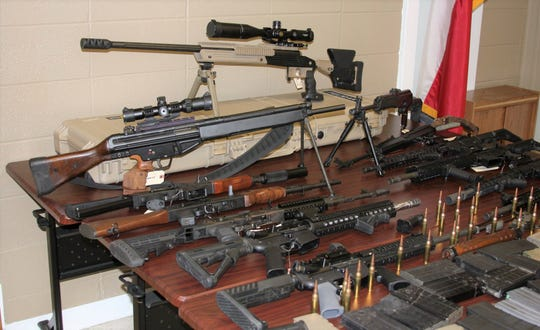 The Jim Wells County Sheriff's Office seized several high-caliber weapons, along with ammunition and magazine, following a traffic stop on March 29, 2019.