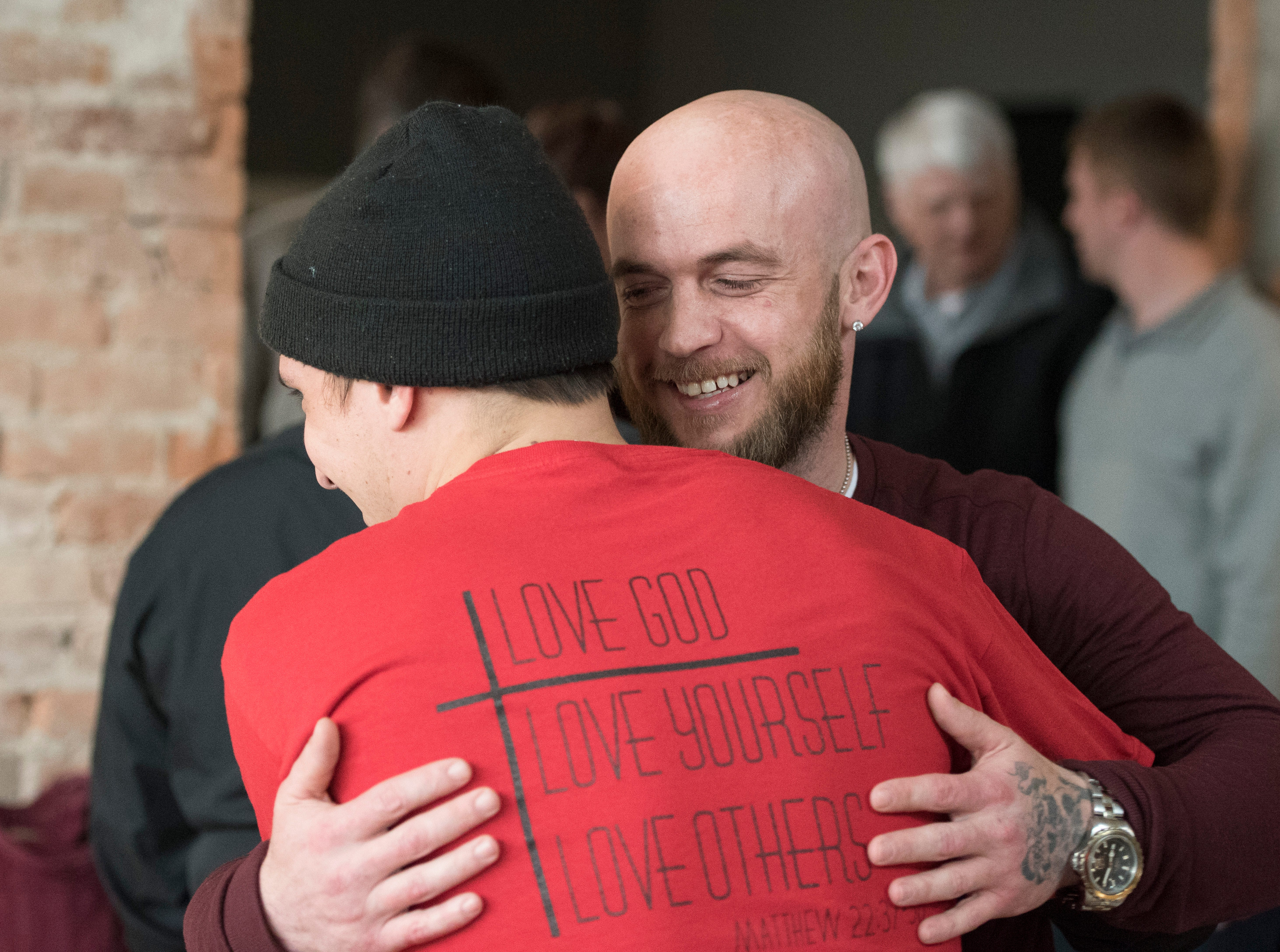 Zion Baptist Church held a get together at Paper City Coffee Sunday night to bring awareness to its transitional housing for men in recovery from addiction and raise funds through the selling of paintings created by Alec Wiggin.