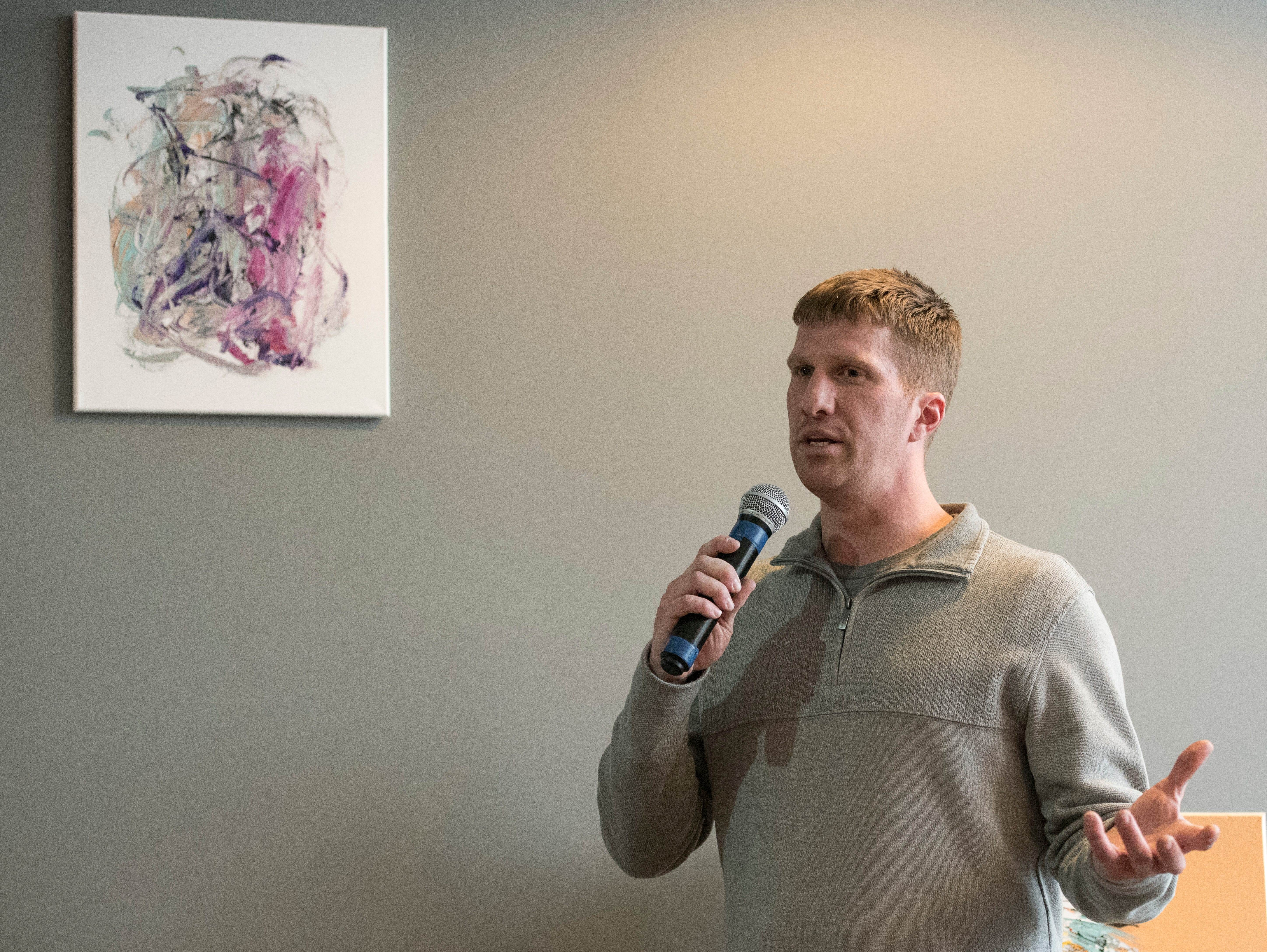 Timothy Stacey speaks at a Night of Hope about his fight with drug addiction and how Zion Baptist Church's Another Chance Ministries has helped him obtain and retain recovery for nearly 16 months.