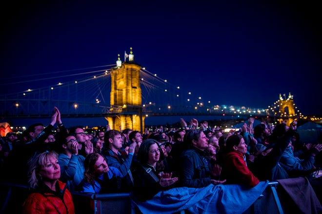 Thousands of fans watch The National perform at Homecoming Festival on the west stage at Smale Riverfront Park in Downtown Cincinnati Sunday, April 29, 2018.