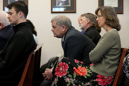 Parents, Bill, and Karen Kunkel, listen during chicken pox hearing for their son, Jerome Kunkel, 18, in Boone County Circuit Court Monday, April 1, 2019. Jerome, a senior at Assumption Academy in Walton objected to the demand of public health officials for vaccinations against chickenpox when 32 students at his small Catholic school came down with the illness this year.