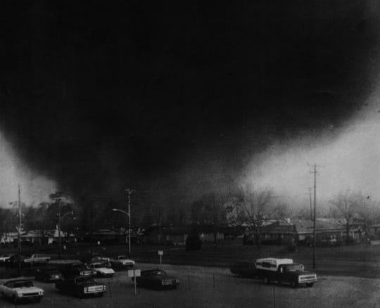 A tornado funnel cloud moves through Xenia, Ohio, on April 3, 1974.