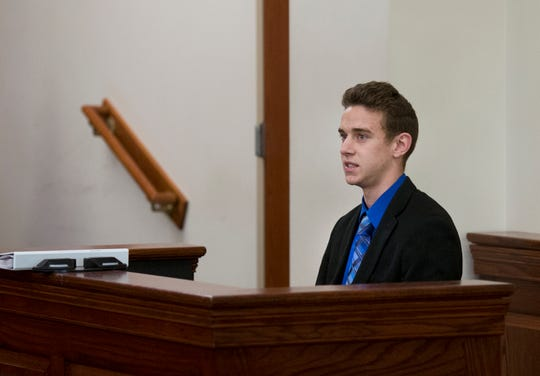 Jerome Kunkel, 18, takes the witness stand during his hearing at Boone County Circuit Court on Monday, April 1, 2019. Jerome, a senior at the Assumption Academy in Walton, objected to the Jerome Kunkel, 18, takes the witness stand during his hearing at the Boone County Circuit Court on Monday, April 1, in the United States. In 2019, Jerome, a senior at the Assumption Academy in Walton, objected to the demand for public health officials for vaccination against chickenpox when 32 students at his small Catholic school came to the disease this year. <meta itemprop=