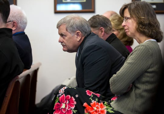 Bill and Karen Kunkel listen during the chicken pox hearing for their son, Jerome Kunkel, 18, in Boone County Circuit Court Monday, April 1, 2019. Jerome, a senior at Assumption Academy in Walton objected to the demand of public health officials for vaccinations against chickenpox when 32 students at his small Catholic school came down with the illness this year.