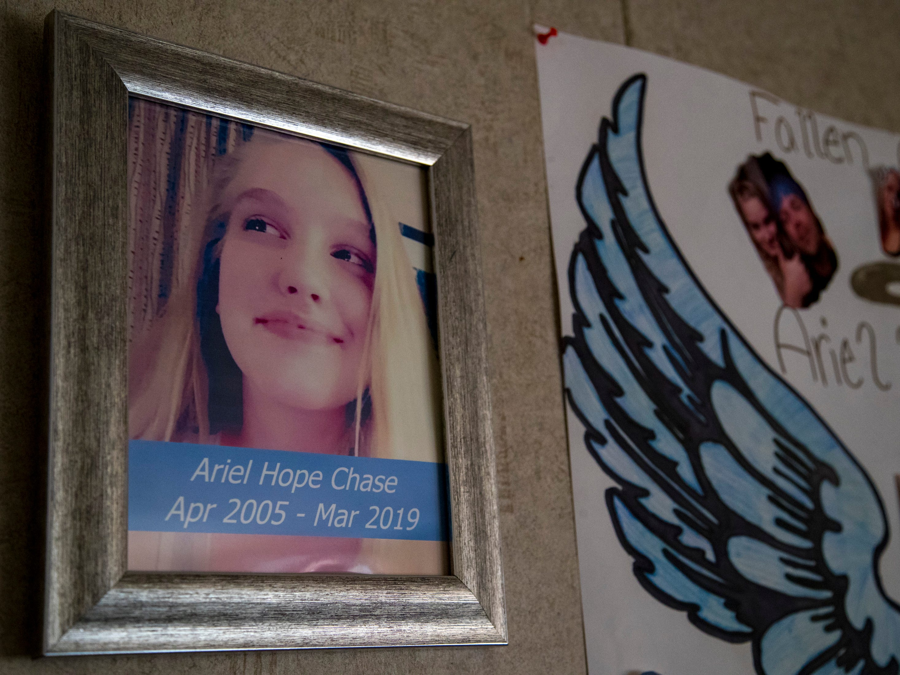 A portrait of Ariel Chase hangs in the home of her father, Michael Chase, in Montgomery County on Thursday, March 14, 2019. Ariel died by suicide on March 4, 2019.