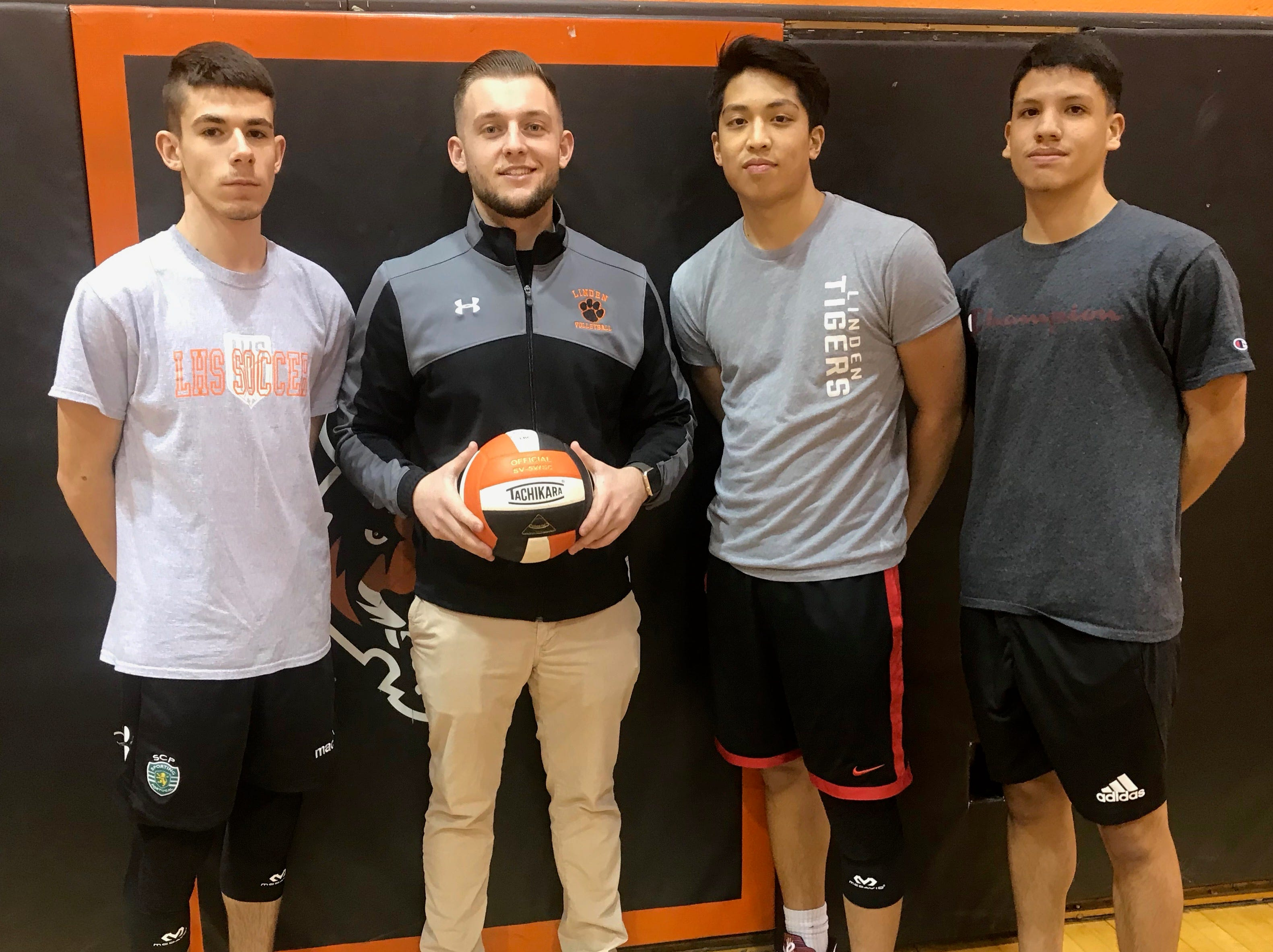 Linden High School head boys volleyball coach Jimmy Smith with his captains. From left are Dan Rodrigues, Smith, Justin Velasco and Joe Rojas.