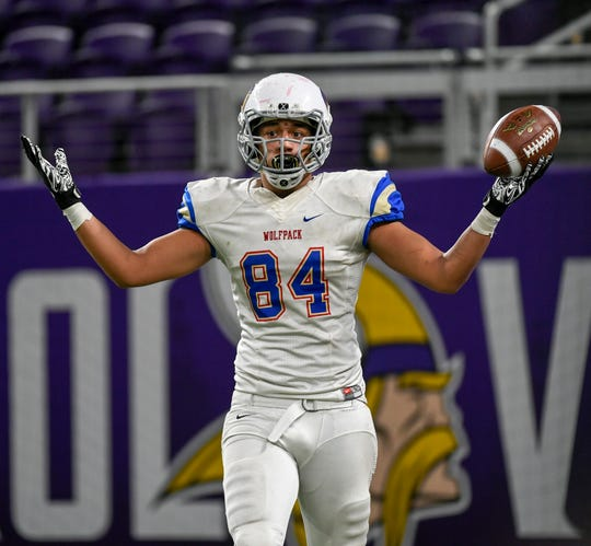 SMB Wolfpack tight end Kaden Johnson (84) celebrates after scoring a touchdown against Willmar during the second half of the Class 4A State football title game at U.S. Bank Stadium in Minneapolis on Friday, Nov. 23, 2018.