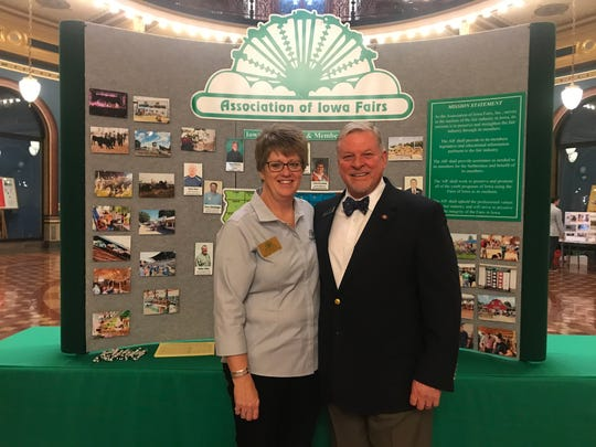 Jo Reynolds, president of the Warren County Fair and an executive with the Iowa State Fair Association, met with state Rep. Scott Ourth at the Statehouse last week.