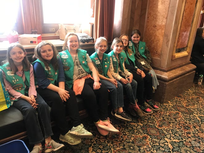 Indianola Girl Scout Troop 324 visit state Rep. Scott Ourth at the Capitol last week.