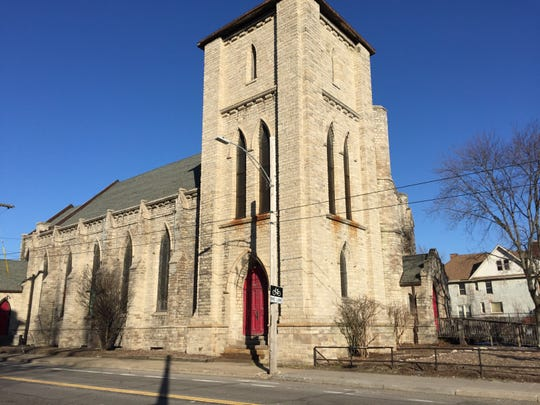 Church of the Messiah, located at Lafayette and East Grand Boulevard, photographed on April 1, 2019.